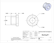 2D drawing of a bushing that was derived from a 3d model.
