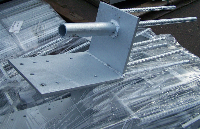 Fence Post Anchors with galvanized coating.