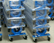 Aluminum hoses carts packaged and ready for palletizing.