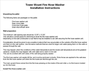 Fire Hose washer detailed installation instructions.