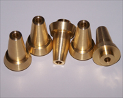 Brass bushings with machined tapers.